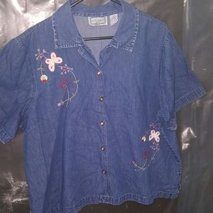 Jane Ashley Butterfly Embroidered Denim Blouse